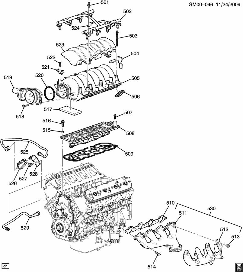 ENGINE ASM-6.2L V8 PART 5 MANIFOLDS & RELATED PARTS