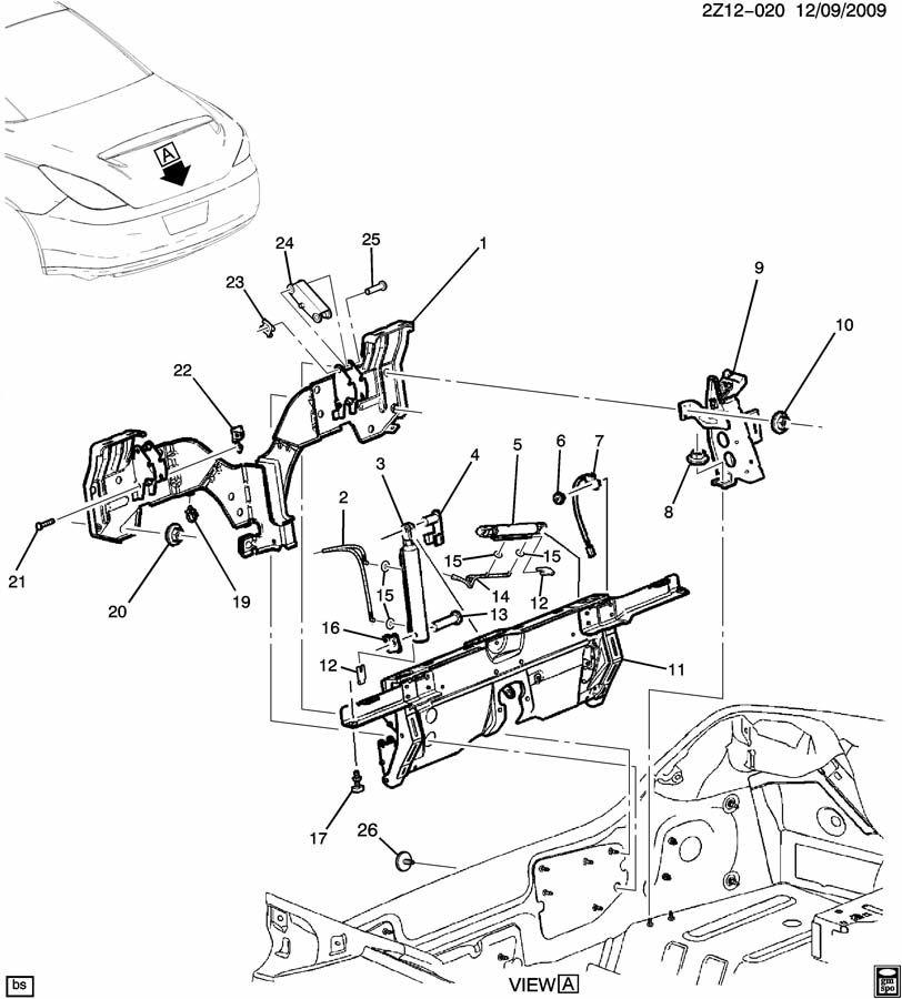 2008 Pontiac G6 REAR COMPARTMENT LID HARDWARE PART 1