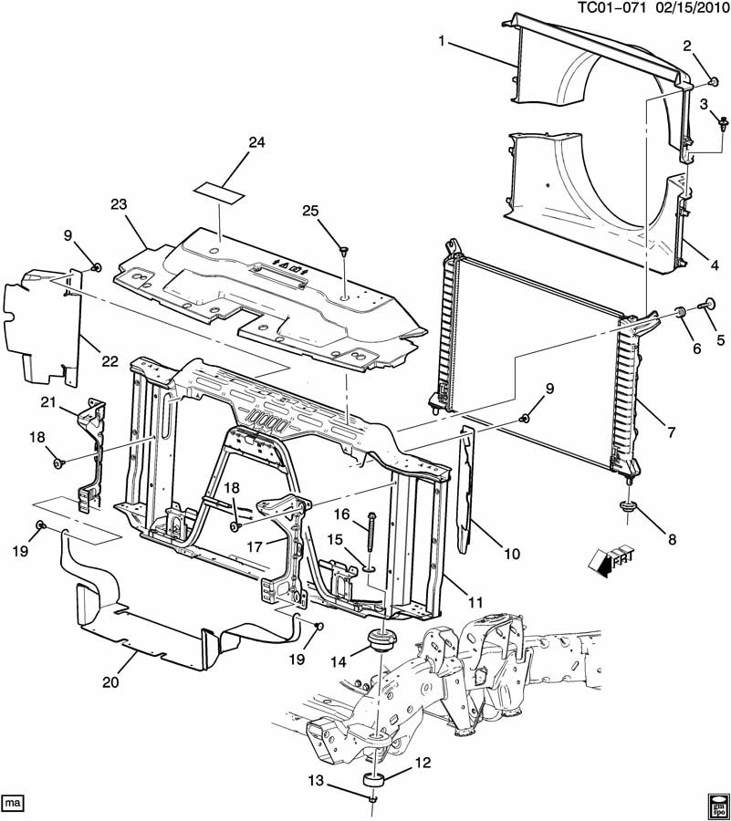 Chevrolet RADIATOR MOUNTING & RELATED PARTS