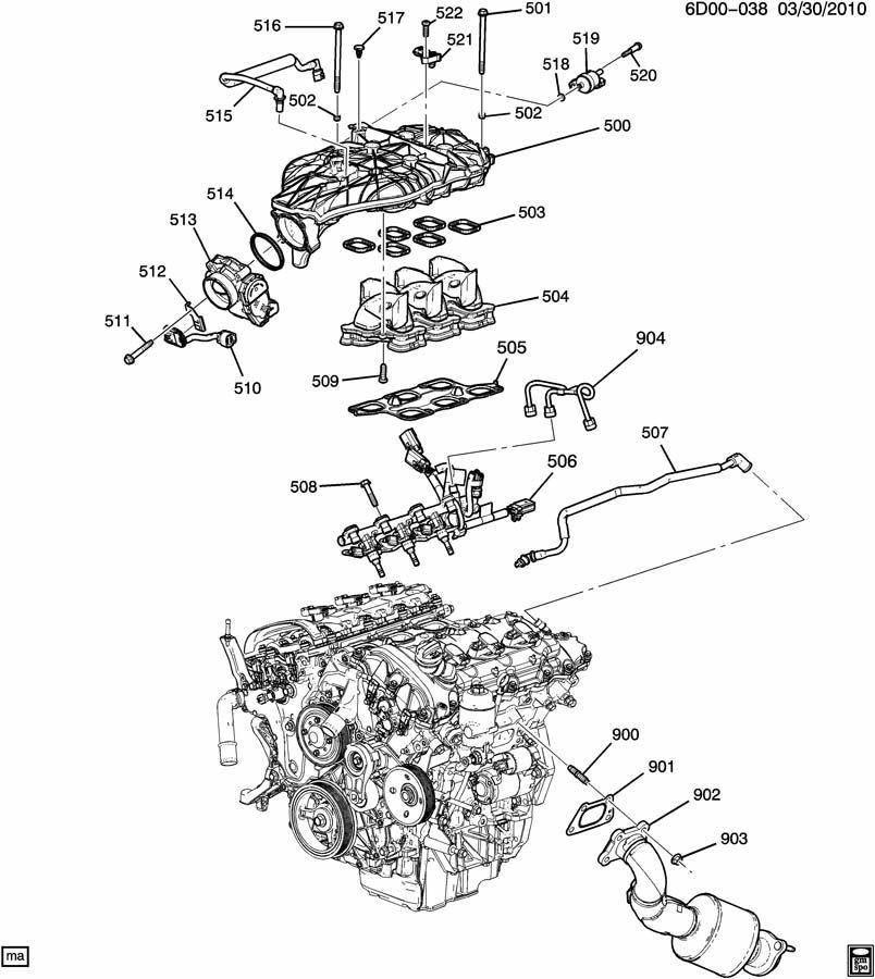 DM,DR35-69 ENGINE ASM-3.0L V6 PART 5 MANIFOLDS & RELATED