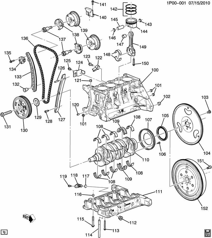 Chevrolet Cruze PL ENGINE ASM-1.4L L4 PART 1 CYLINDER