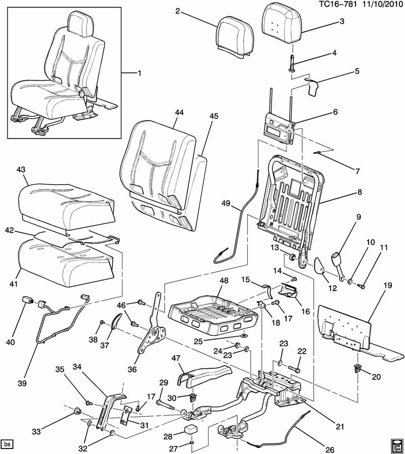 COVER SEAT BACK CUSHION GENUINE GM PART 15181160 for