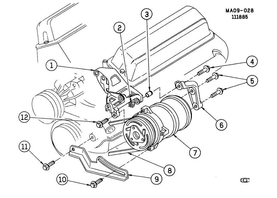 2002 GMC SONOMA GT A/C COMPRESSOR MOUNTING-2.8L V6