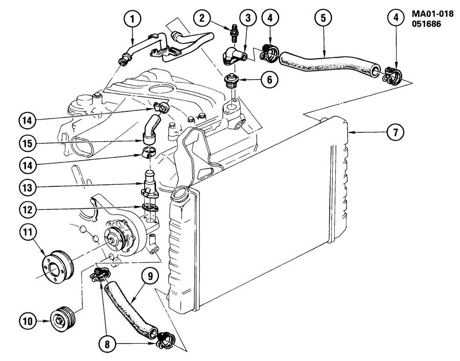 1987 Chevrolet Celebrity HOSES & PIPES/RADIATOR-2.8L V6