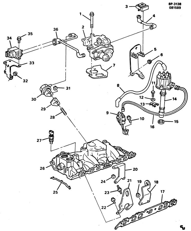 ENGINE ASM-366 TBI; INTAKE MANIFOLD & RELATED PARTS-V8 PART 6