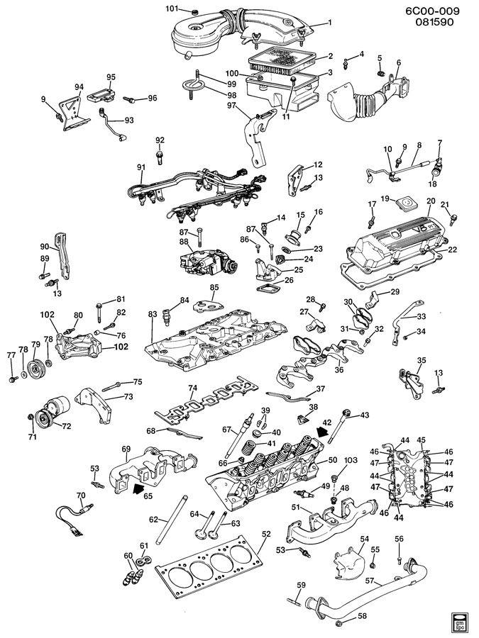 1990 Cadillac Deville ENGINE ASM-4.5L V8 PART 2