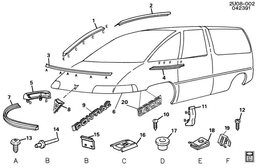 1992 Pontiac Trans Sport MOLDINGS/FRONT END
