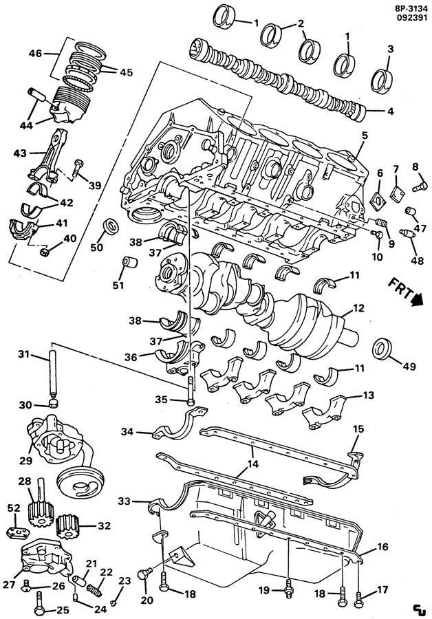 CYLINDER CASE & RELATED PARTS-V8 PART 2; ENGINE ASM-366 TBI