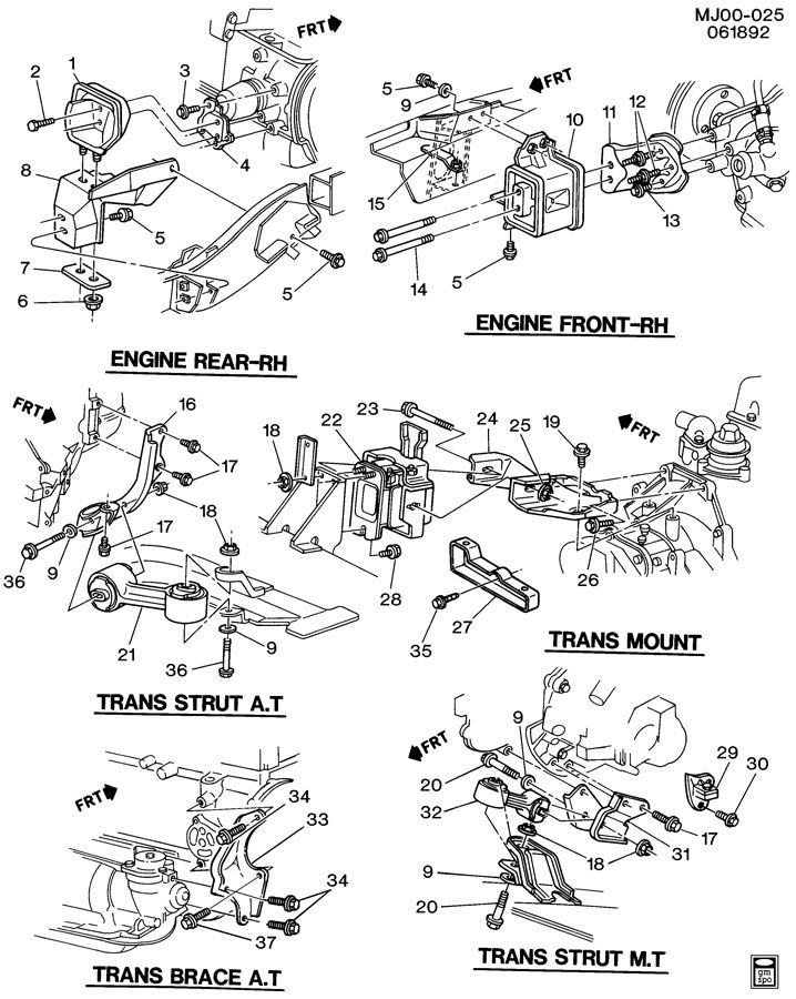 1993 Chevrolet Cavalier ENGINE & TRANSMISSION MOUNTING-L4