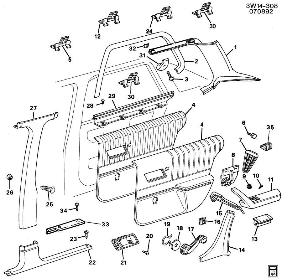 Oldsmobile Cutlass TRIM/CENTER PILLAR, REAR DOOR & QUARTER