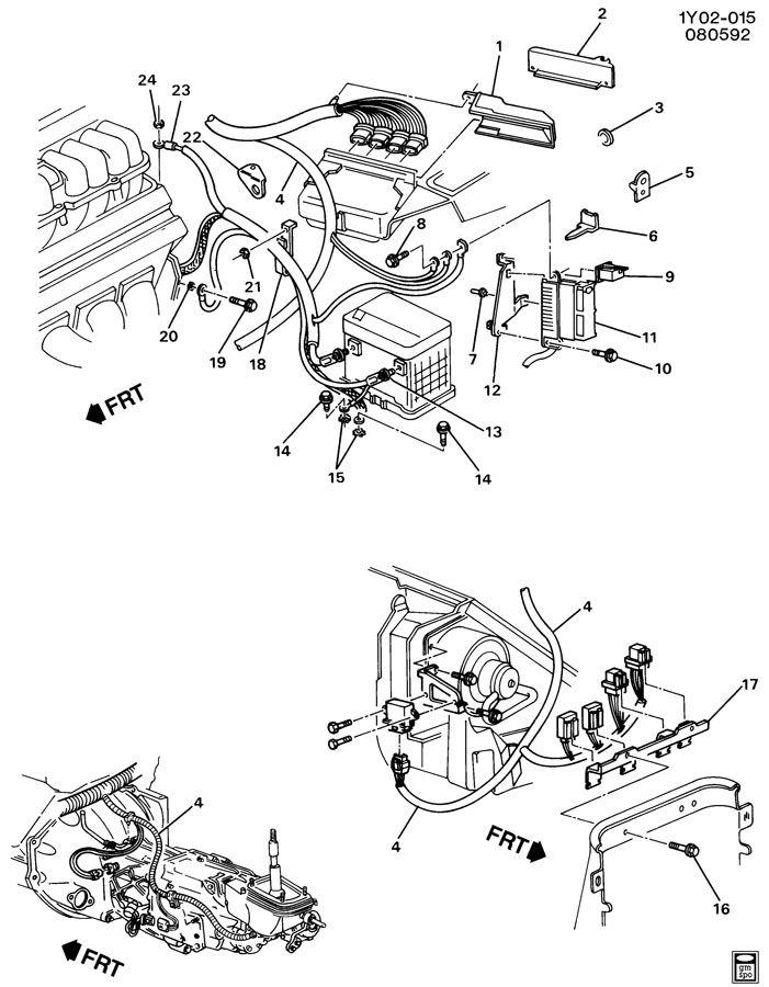 wiring harness engine lt1 fits chevrolet corvette 1992 1993 1994