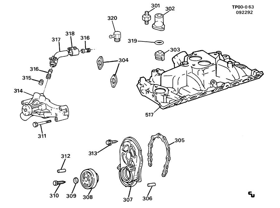 Chevrolet P30 P3 ENGINE ASM-7.4L V8 PART 3 FRONT COVER