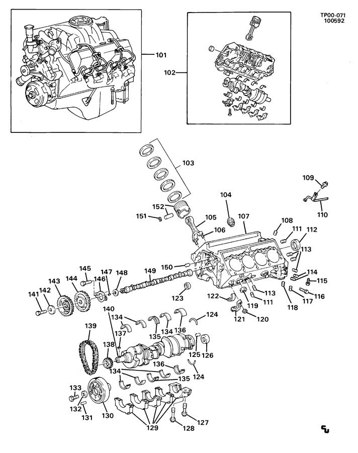 P3 ENGINE ASM-6.2L V8 DIESEL PART 1 BLOCK & INTERNAL PARTS
