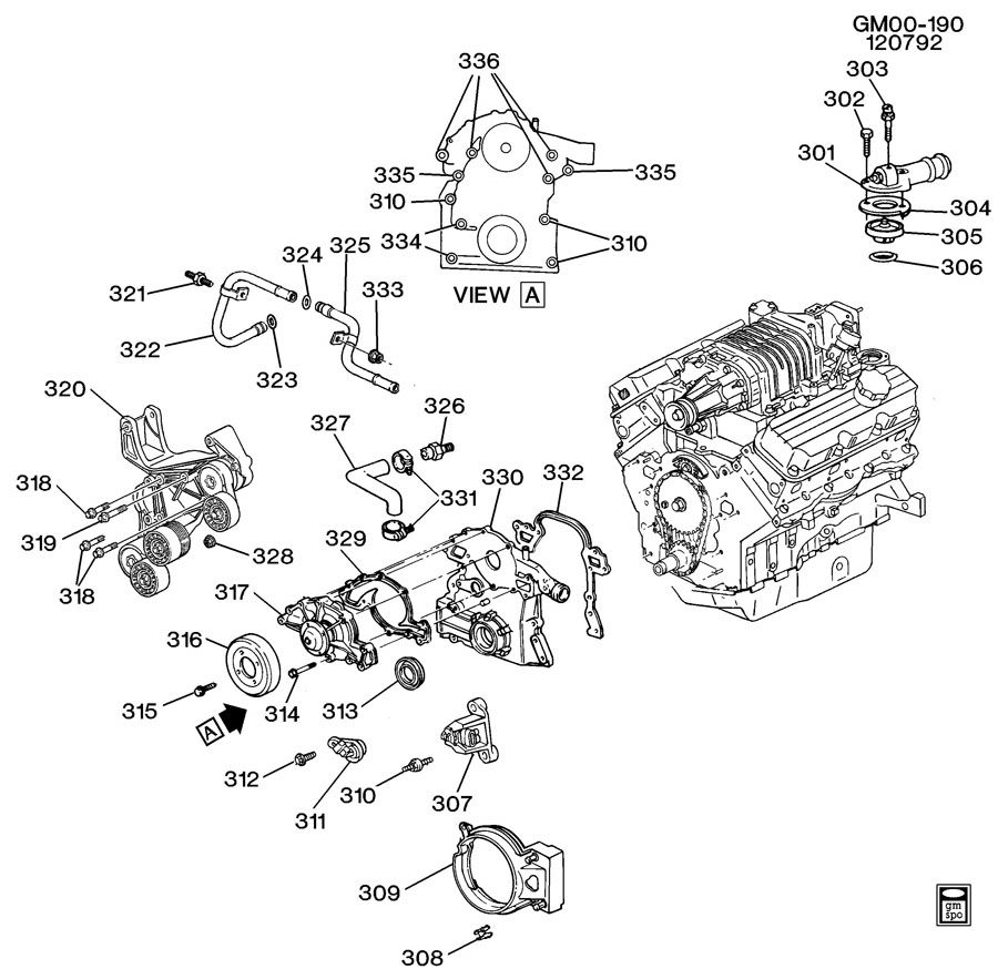 ENGINE ASM-3.8L V6 PART 3 FRONT COVER AND COOLING