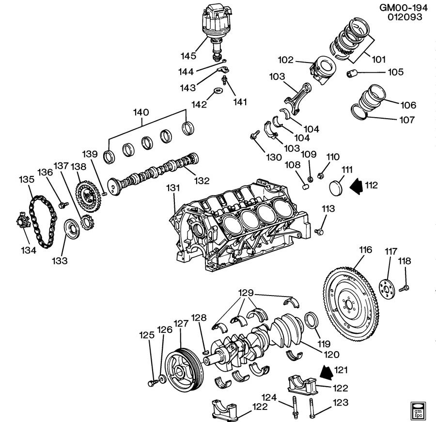 Cadillac ENGINE ASM-4.9L V8 PART 1 CYLINDER BLOCK
