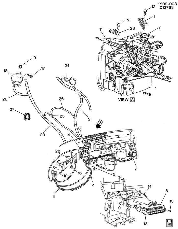 1990 Chevrolet Corvette A/C CONTROL SYSTEM ELECTRICAL & VACUUM