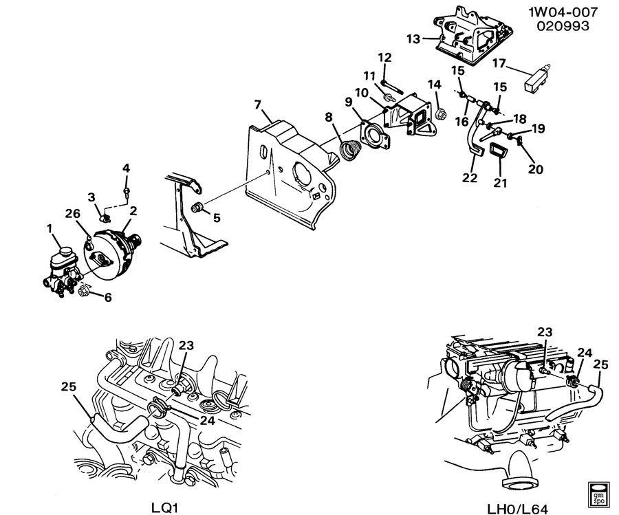 1993 Chevrolet Lumina BRAKE PEDAL & MASTER CYLINDER MOUNTING