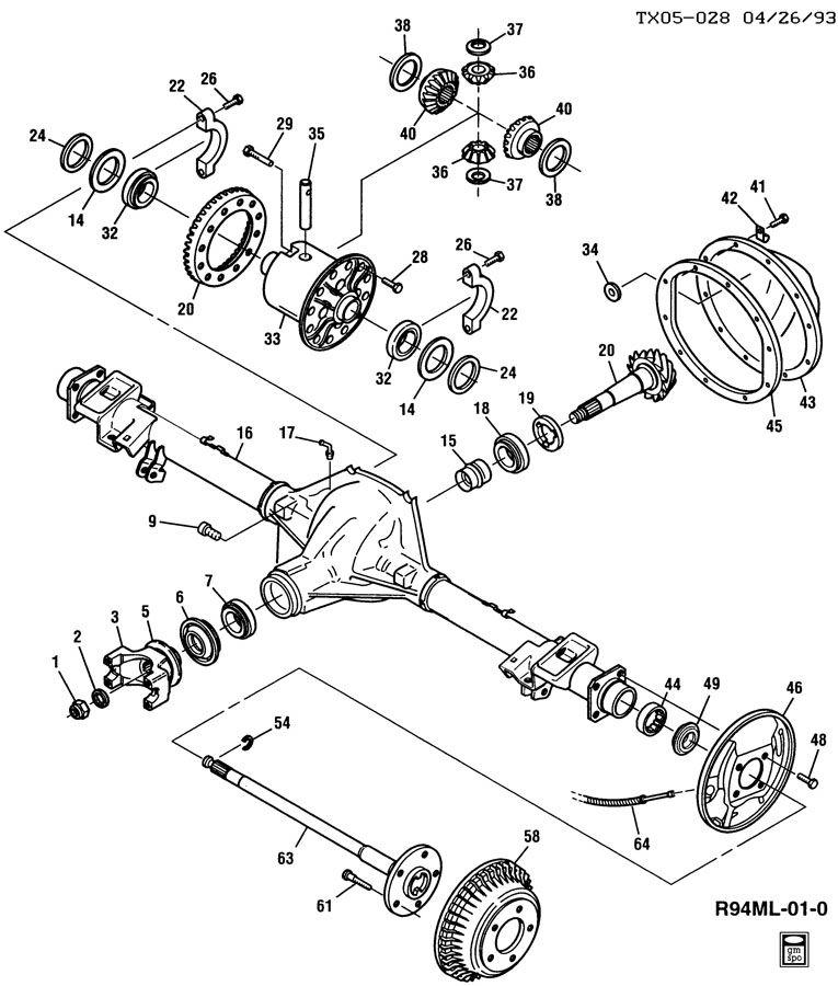 1996 GMC JIMMY AXLE ASM/REAR 7.625 RING GEAR