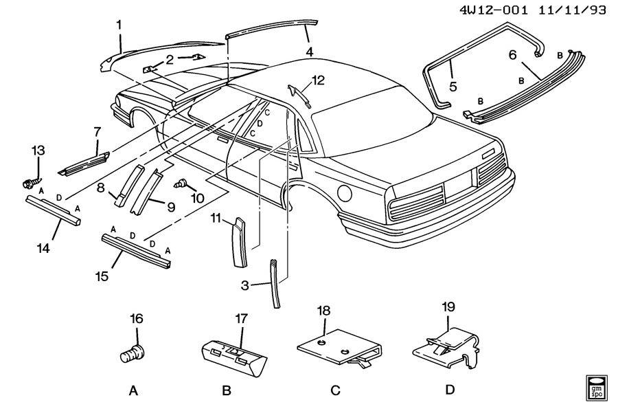 1992 Buick Regal MOLDINGS/BODY-ABOVE BELT