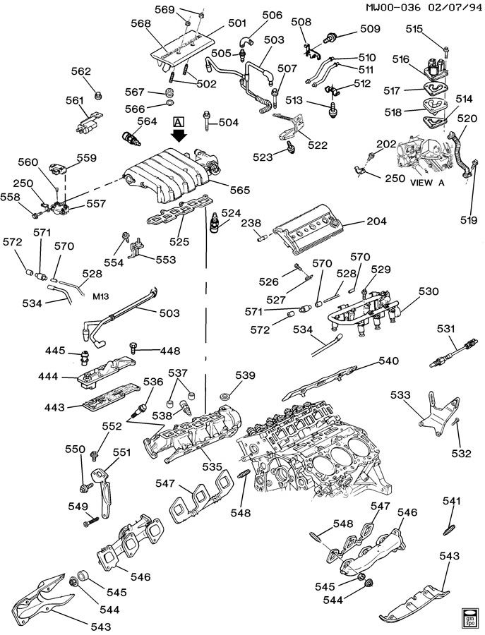 ENGINE ASM-3.4L V6 PART 5 MANIFOLDS AND FUEL RELATED PARTS