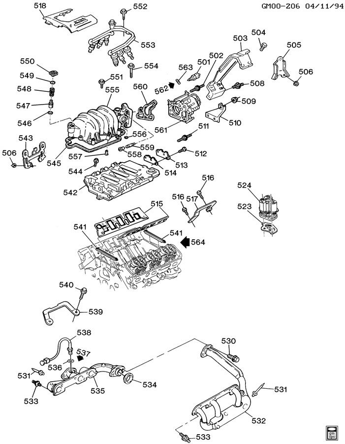 ENGINE ASM-3.8L V6 PART 5 MANIFOLDS & FUEL RELATED PARTS