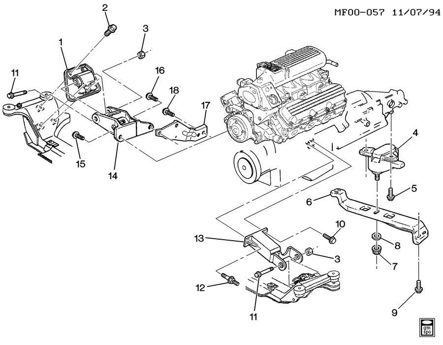 1997 Pontiac Firebird ENGINE & TRANSMISSION MOUNTING-V6