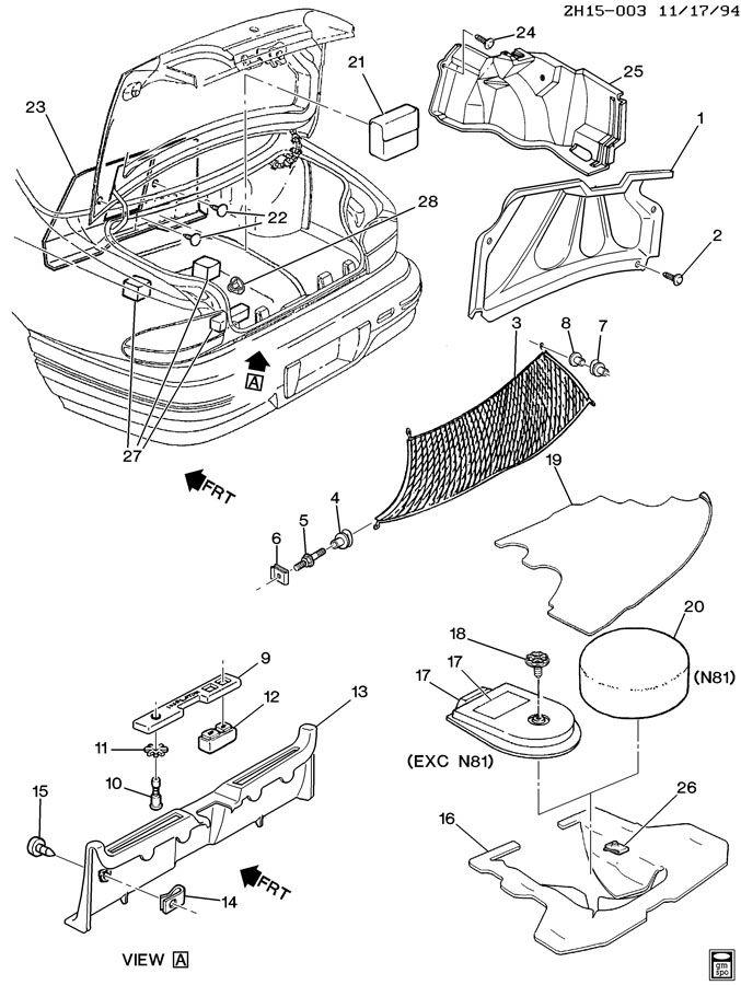 1992 Pontiac Bonneville COMPARTMENT TRIM/REAR