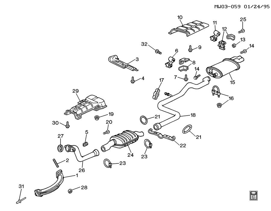 1993 Oldsmobile Cutlass EXHAUST SYSTEM-V6