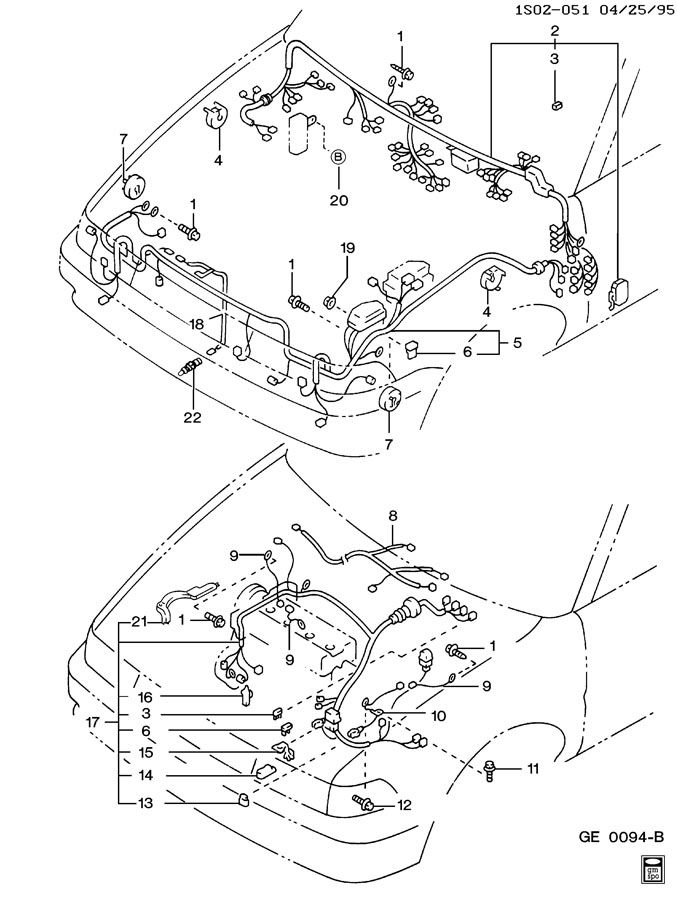 1990 Geo Prizm WIRING HARNESS ENGINE, FORWARD LAMP, & I/P
