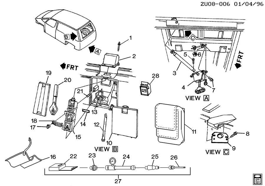 1992 Pontiac Trans Sport SPARE WHEEL STOWAGE & JACK PARTS