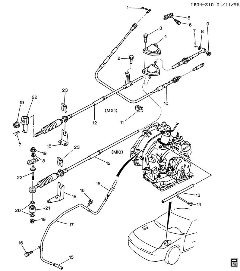 Service manual [1992 Geo Storm Transmission Shift Cable
