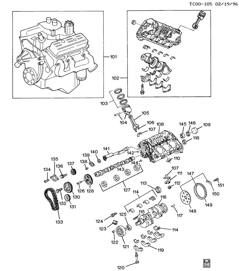 ENGINE ASM-4.3L V6 PART 1 BLOCK & INTERNAL PARTS