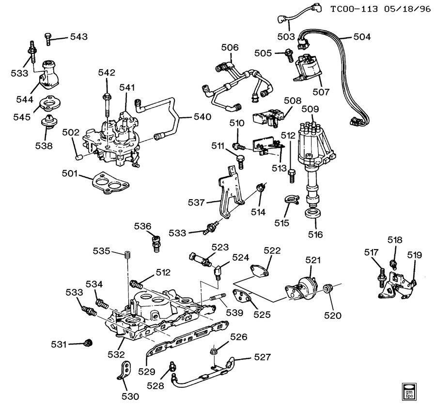 1988 Chevrolet S10 ENGINE ASM-4.3L V6 PART 5 MANIFOLD