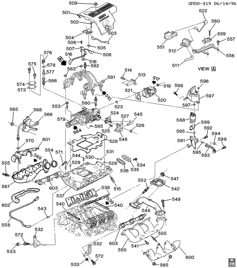 ENGINE ASM-3.8L V6 PART 5 MANIFOLD AND FUEL RELATED PARTS
