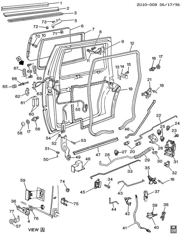 1992 Pontiac Trans Sport DOOR HARDWARE/REAR SLIDING