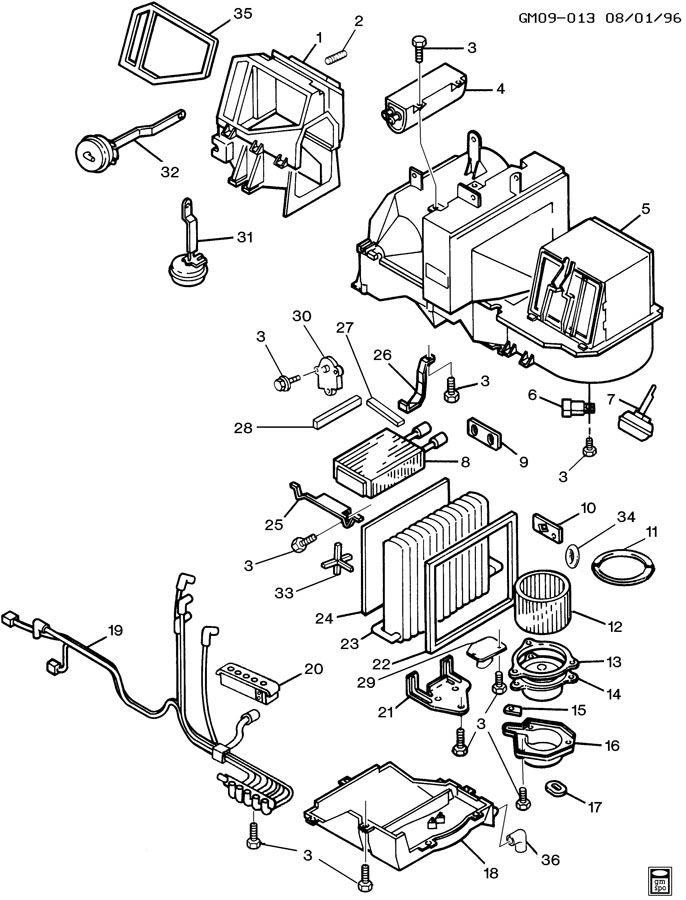 1995 Buick A/C & HEATER MODULE ASM