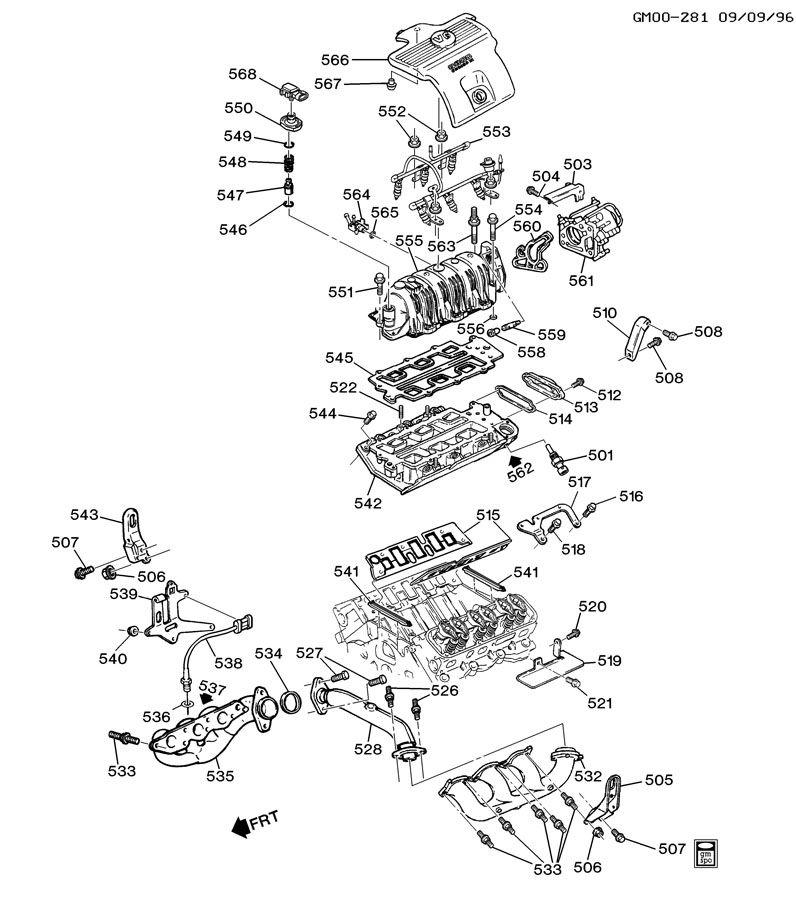 ENGINE ASM-3.8L V6 PART 5 MANIFOLDS & FUEL RELATED PARTS