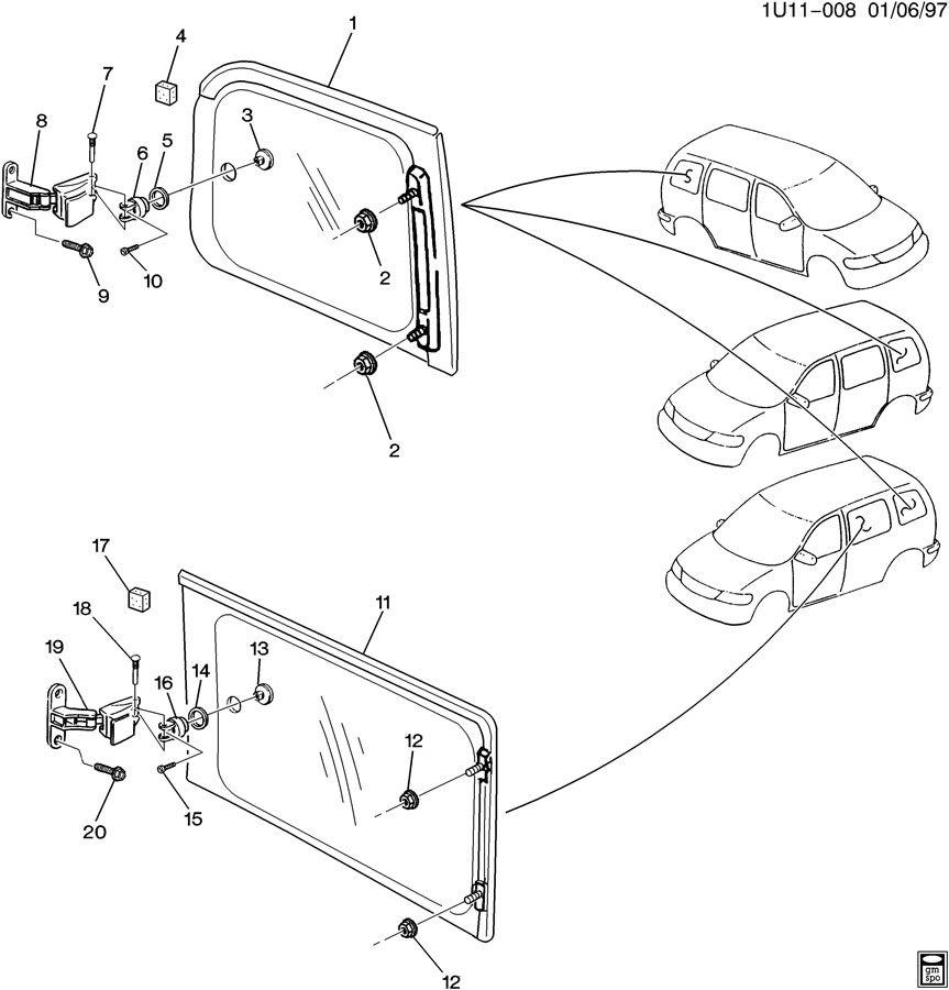 Chevrolet Venture SIDE WINDOW & HARDWARE/REAR/BODY SWING OUT