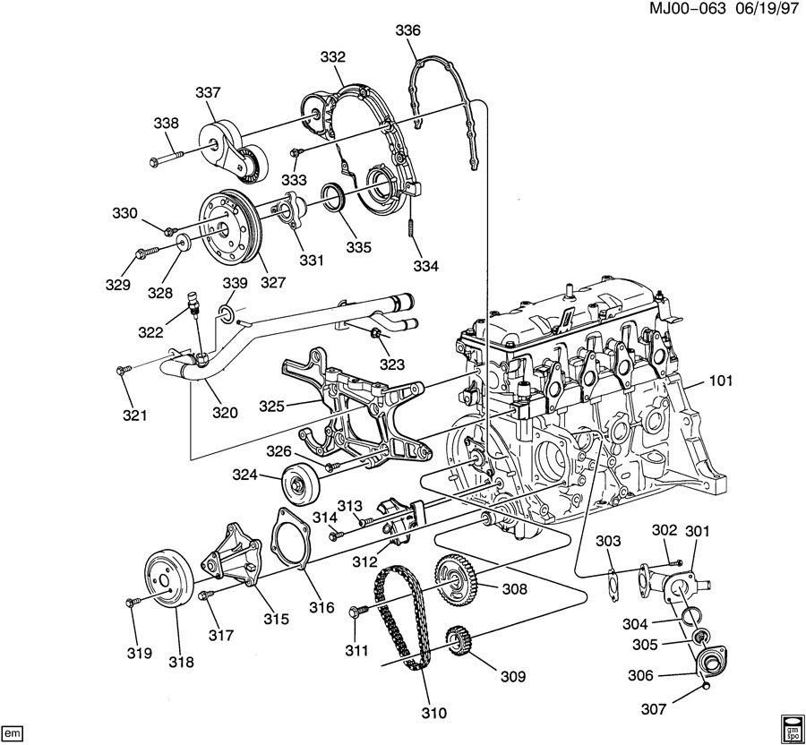 ENGINE ASM-2.2L L4 PART 3 FRONT COVER & COOLING