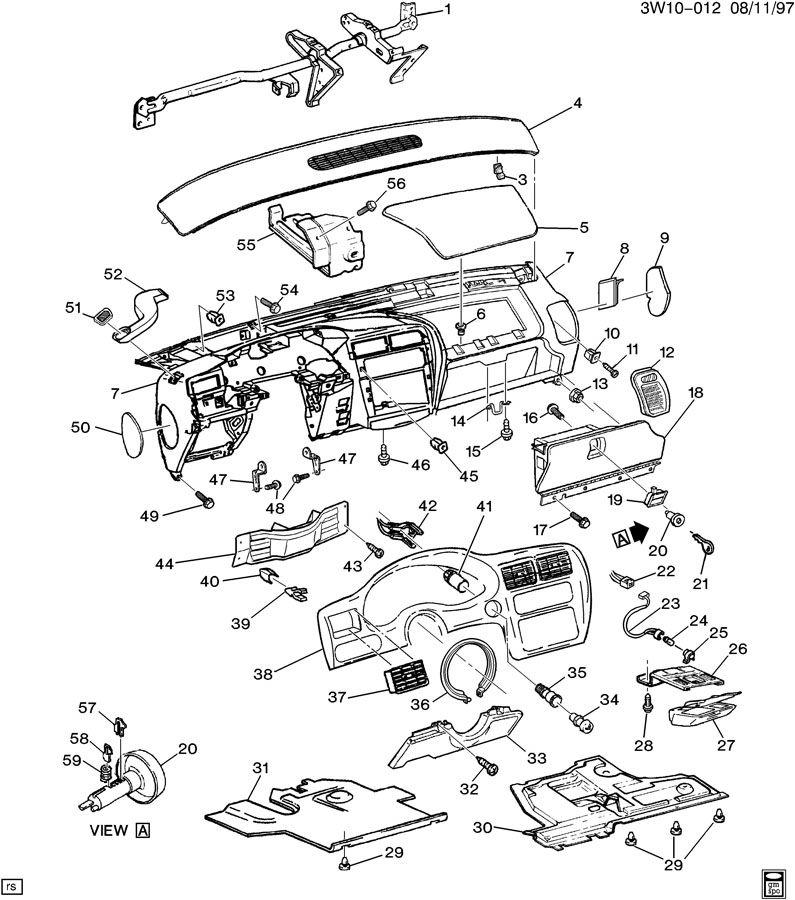 1996 Oldsmobile Cutlass INSTRUMENT PANEL PART 1
