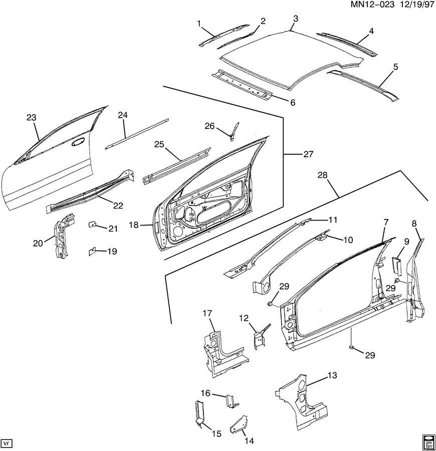 2001 Oldsmobile Alero SHEET METAL/BODY PART 2 DOOR & ROOF