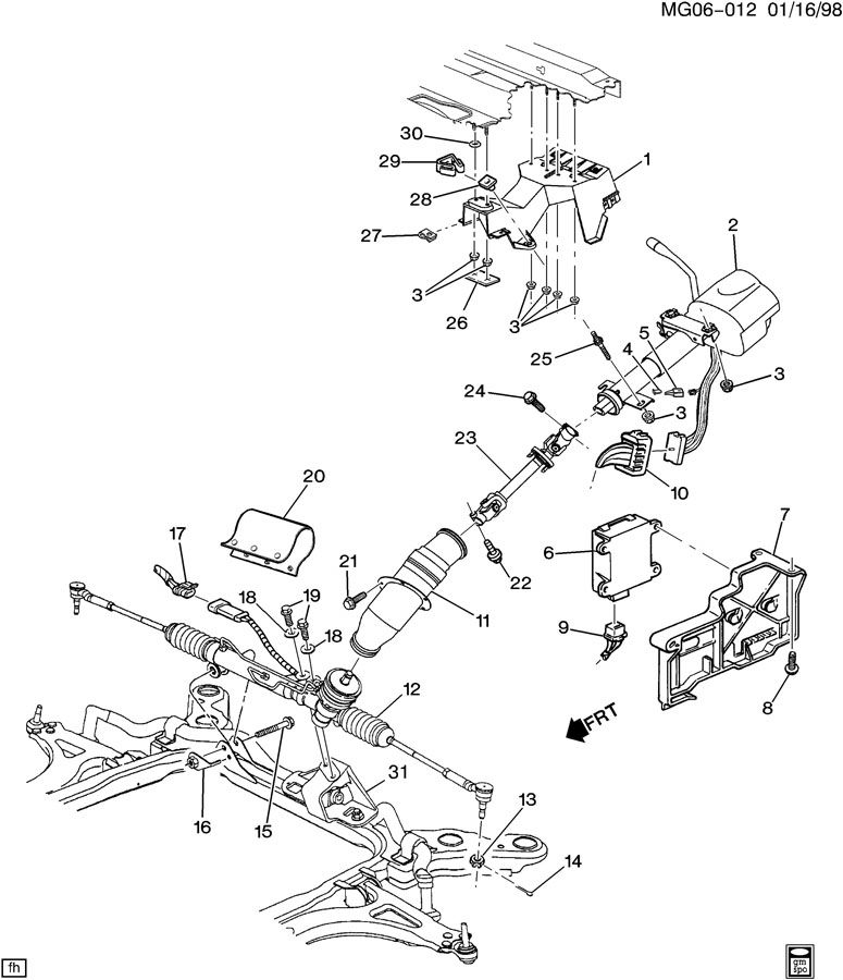 1995 Oldsmobile Aurora STEERING SYSTEM & RELATED PARTS