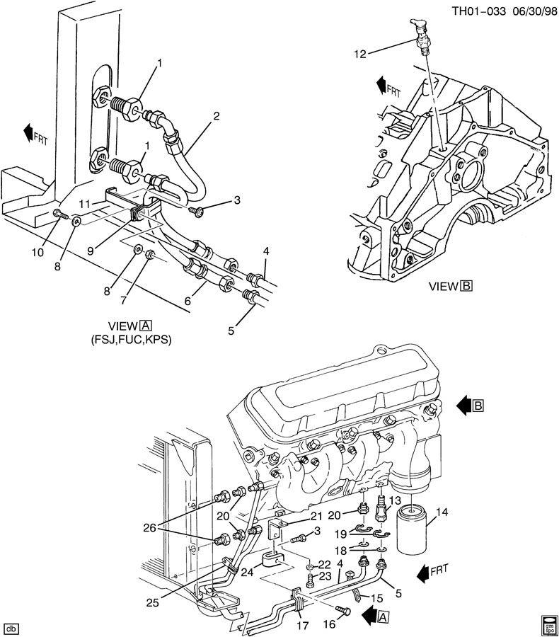 ENGINE OIL COOLER LINES & PRESSURE SENSOR