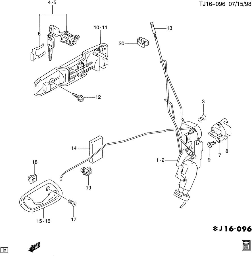 Service manual [2002 Chevrolet Tracker Driver Door Latch