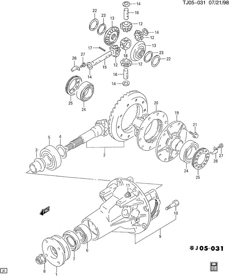 DIFFERENTIAL CARRIER,REAR AXLE, CASE & GEARS