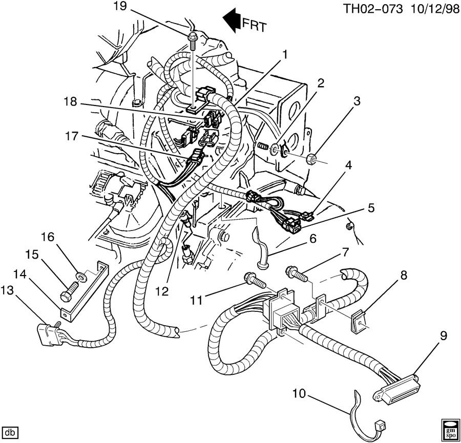 WIRING HARNESS/ENGINE PART 2-AT LEFT HAND REAR