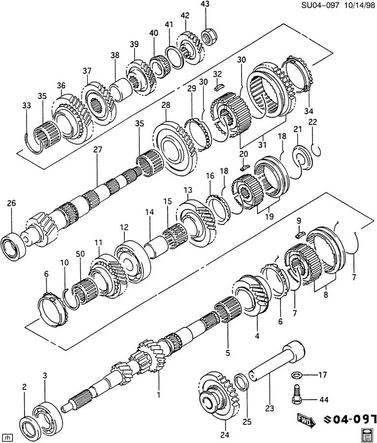 5-SPEED MANUAL TRANSAXLE GEARS
