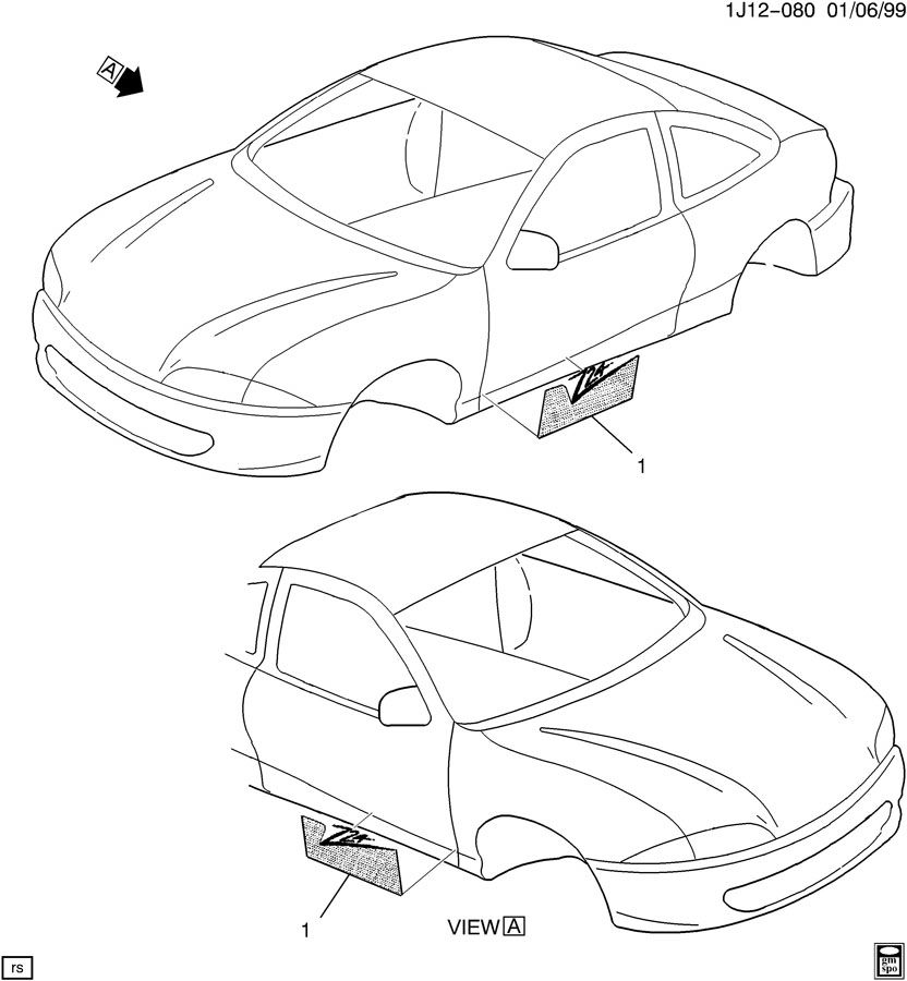 1999 Chevrolet Cavalier ORNAMENTATION/BODY DECAL Z24