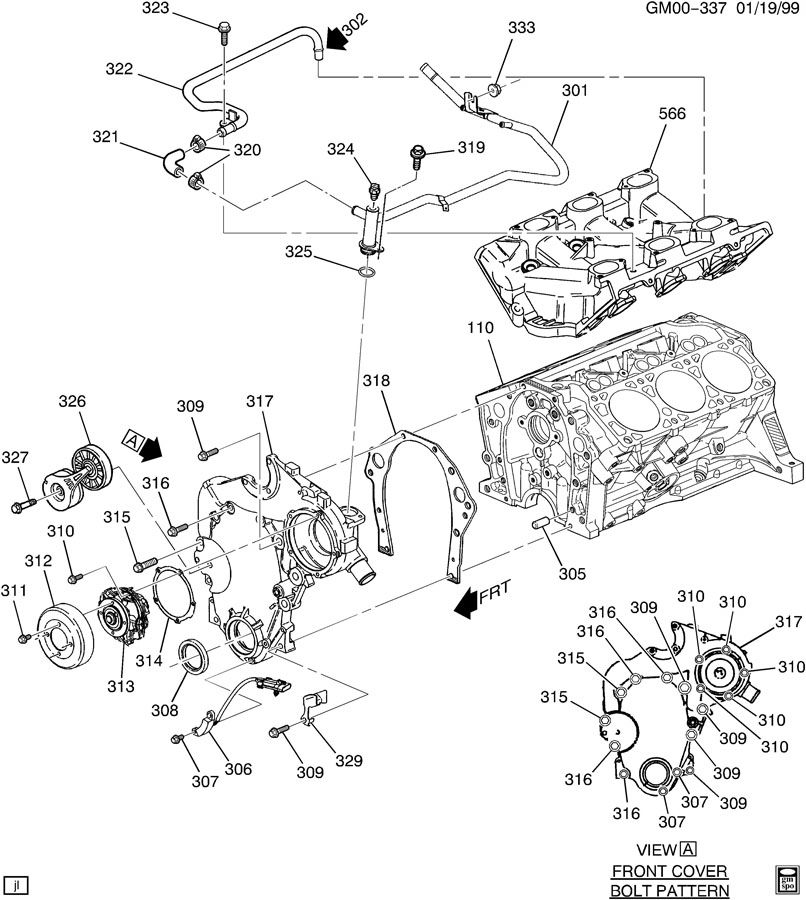 2002 Chevrolet Impala ENGINE ASM-3.4L V6 PART 3 FRONT