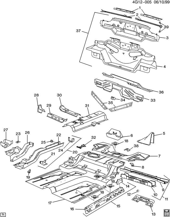 Buick Riviera SHEET METAL/BODY PART 4 UNDERBODY & REAR END